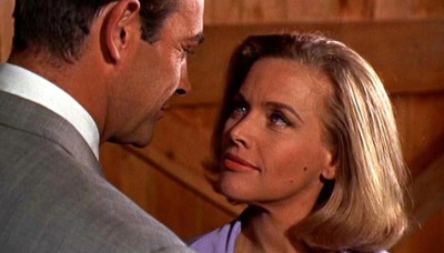 Sean Connery and Honor Blackman meet in Goldfinger