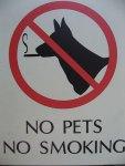 funny sign no pets smoking