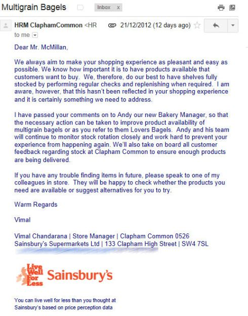 Vimal Chandarana Sainsburys Reply Email